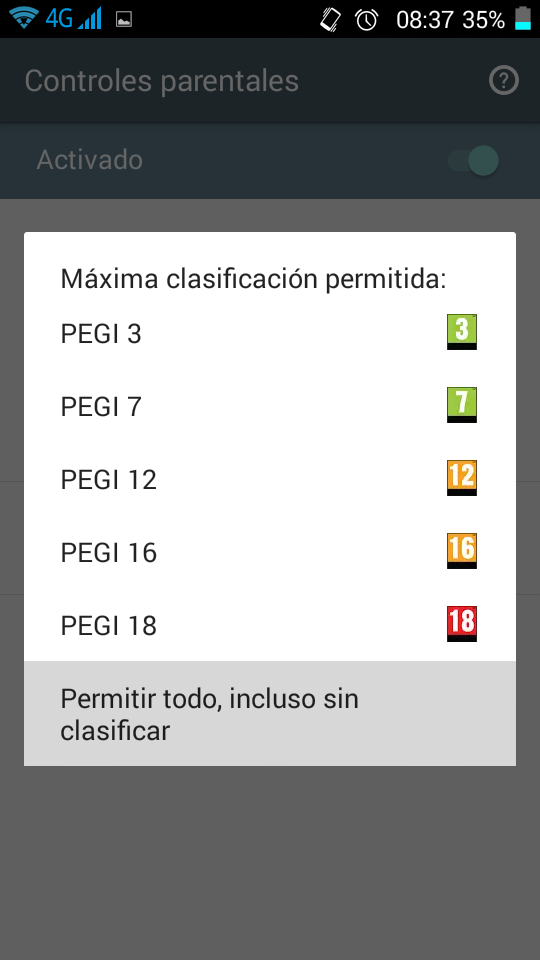 Control parental Android Filtro por Edad para Apps Primerizos Digitales