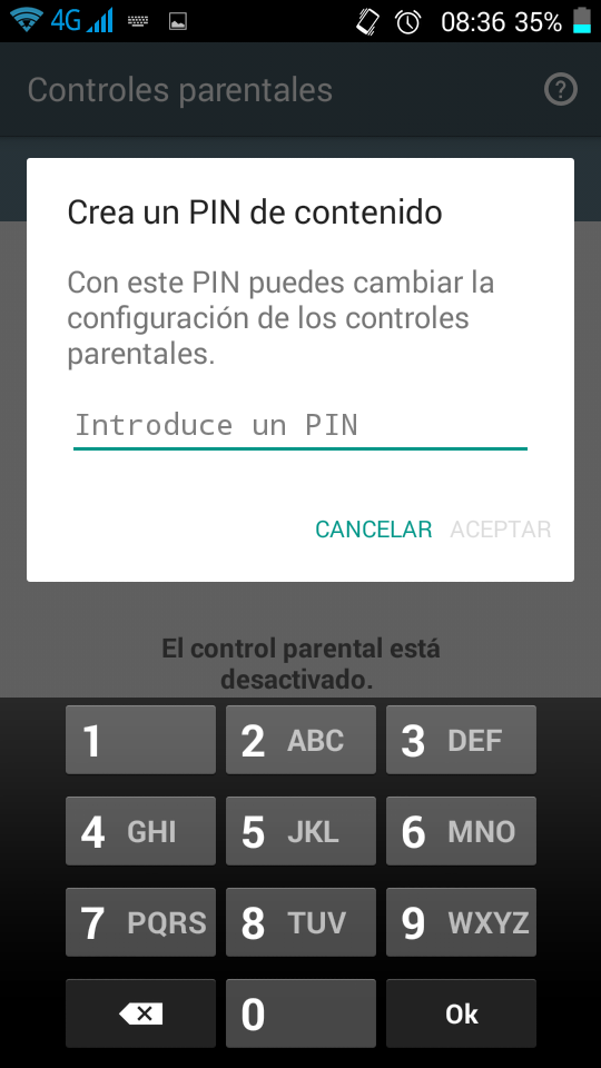 Control parental Android PIN Primerizos Digitales