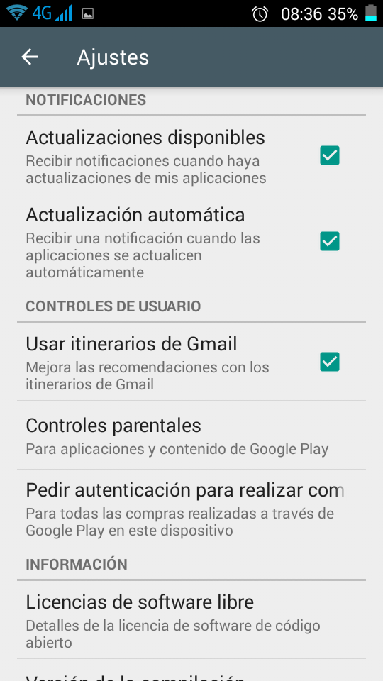 Control parental Android Ajustes Primerizos Digitales Play Store